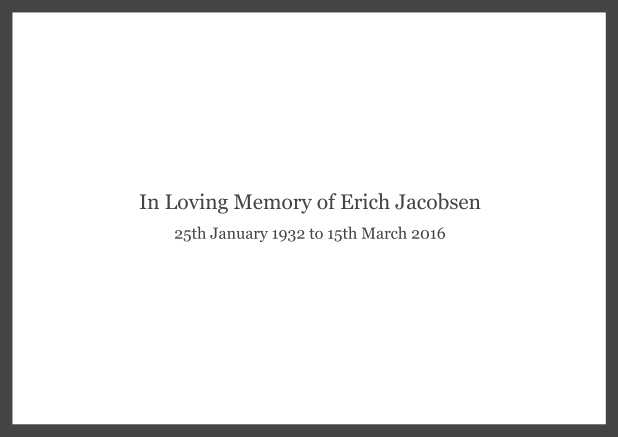 Online Classic Memorial invitation card with black frame and famous quote. Grey.
