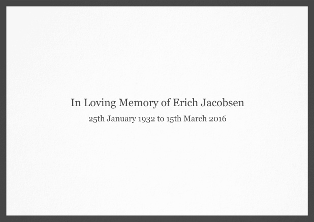 Classic Memorial invitation card with black frame and famous quote. Grey.