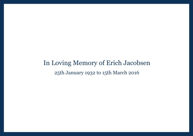 Online Classic Memorial invitation card with black frame and famous quote. Navy.