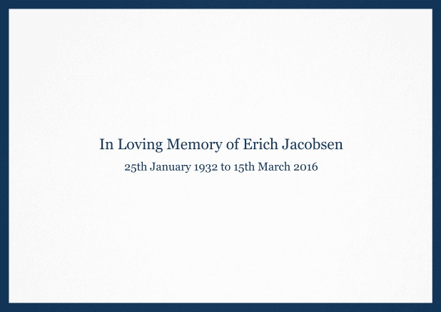 Classic Memorial invitation card with black frame and famous quote. Navy.
