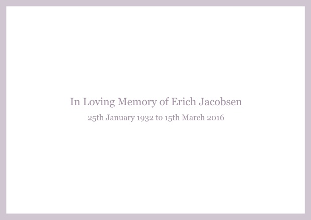 Online Classic Memorial invitation card with black frame and famous quote. Purple.