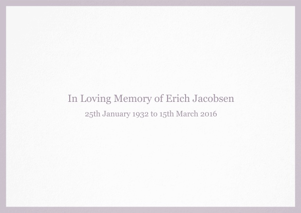 Classic Memorial invitation card with black frame and famous quote. Purple.