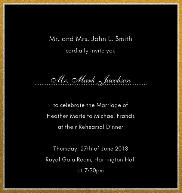 Online invitation with silver and gold frame in different paper colors. Black.