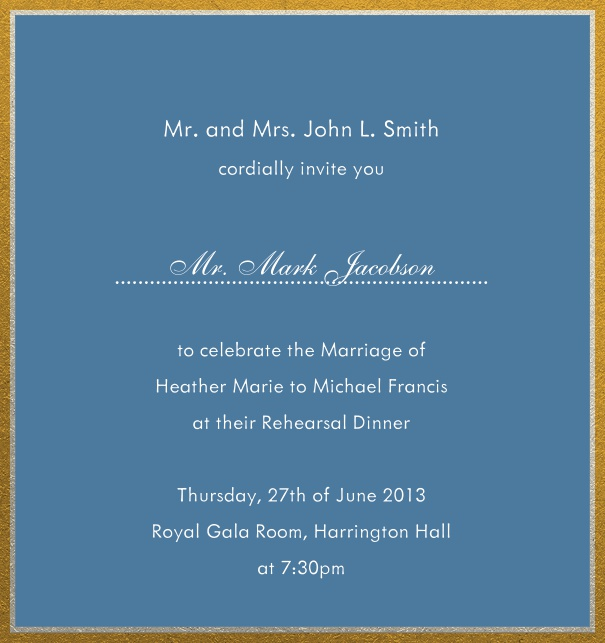 Online invitation with silver and gold frame in different paper colors. Blue.