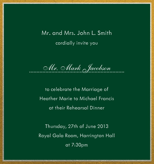Online invitation with silver and gold frame in different paper colors. Green.