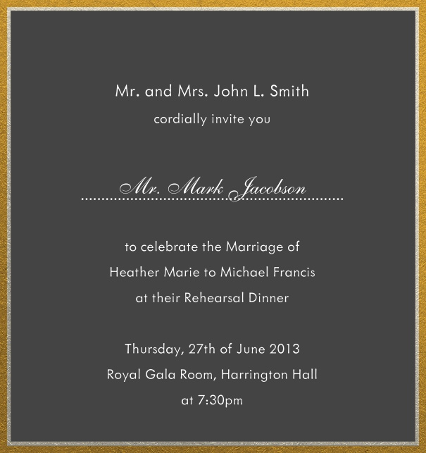 Online invitation with silver and gold frame in different paper colors. Grey.