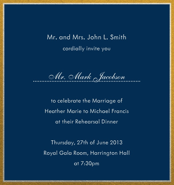 Online invitation with silver and gold frame in different paper colors. Navy.