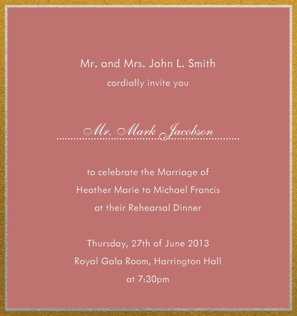 Online invitation with silver and gold frame in different paper colors. Pink.