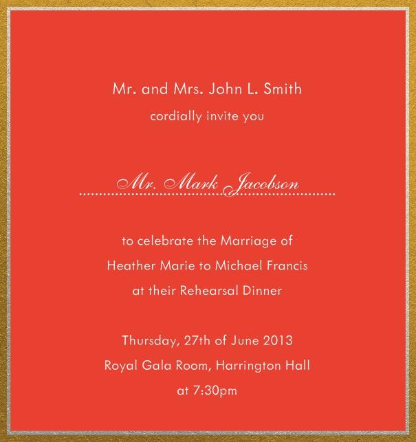 Online invitation with silver and gold frame in different paper colors. Red.