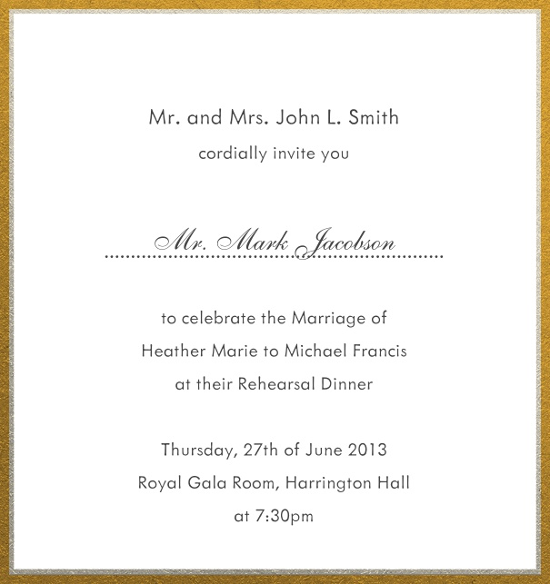 Online invitation with silver and gold frame in different paper colors. White.