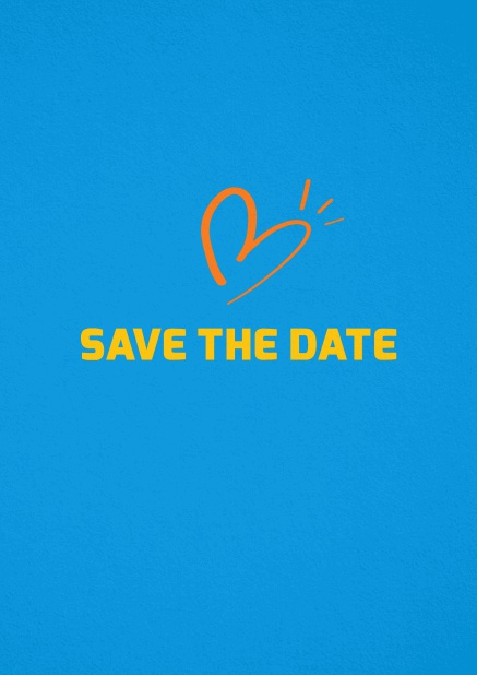 Save the date card with fun illustrated heart. Blue.