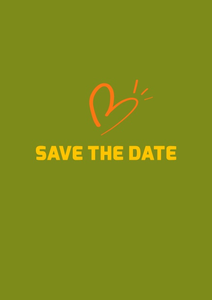 Online Save the date card with fun illustrated heart. Green.