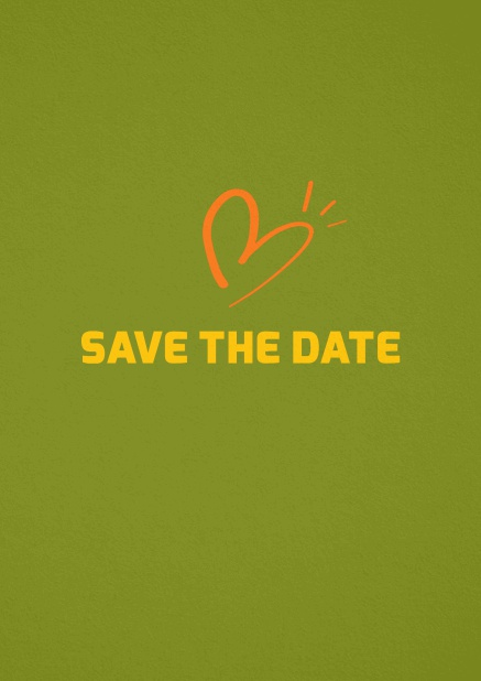 Save the date card with fun illustrated heart. Green.
