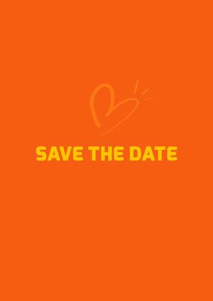 Online Save the date card with fun illustrated heart. Orange.