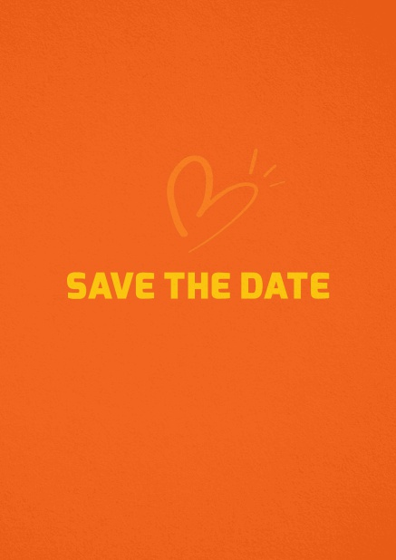 Save the date card with fun illustrated heart. Orange.