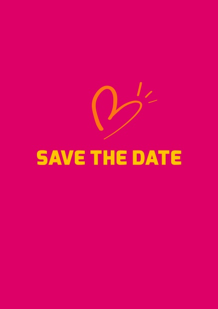 Online Save the date card with fun illustrated heart. Pink.