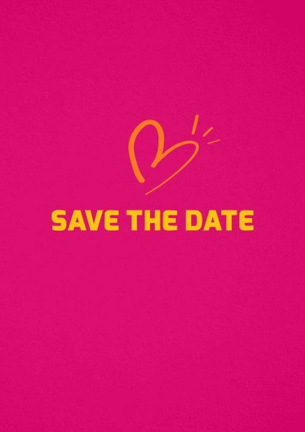 Save the date card with fun illustrated heart. Pink.