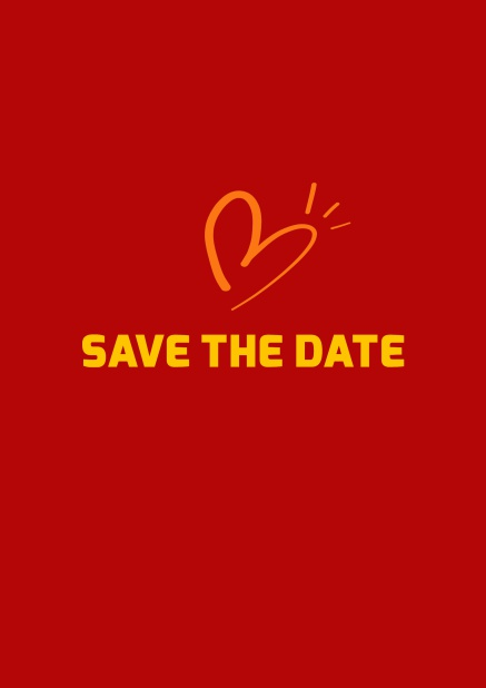 Online Save the date card with fun illustrated heart. Red.