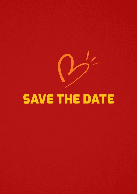 Save the date card with fun illustrated heart. Red.