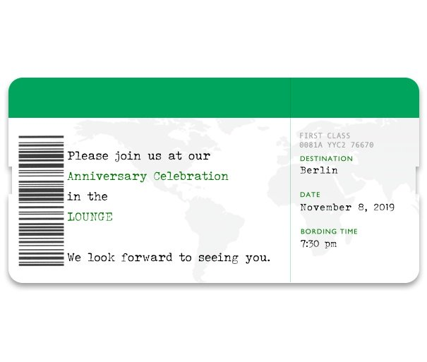 Online invitation card designed as a plane boarding pass.
