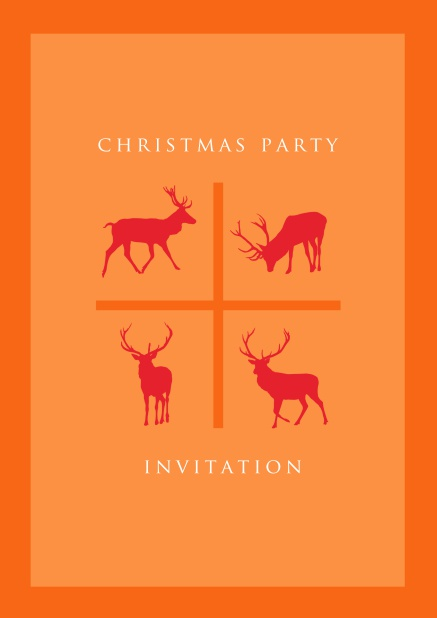 Online Orange Holiday Party invitation card with four red reindeers.