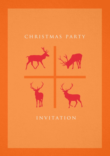 Orange Holiday Party invitation card with four red reindeers.