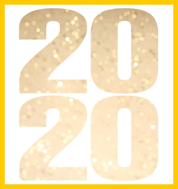 Online invitation card for 2020 events with cut out 2020 for own photo. Yellow.