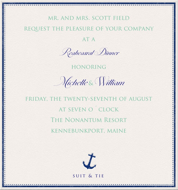 White Party or Corporate Invitation with blue anchor and blue text.