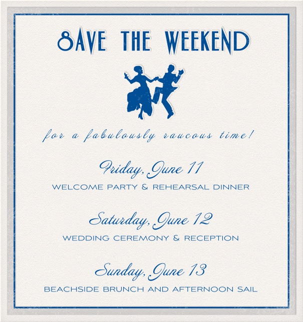 Blue Save the Date Card for parties with dancing image.