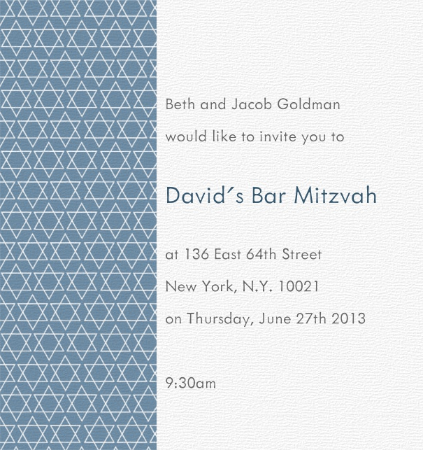 White and Blue Bar Mitzvah Invitation or Bat Mitzvah Invitation with Blue Star of David Border.