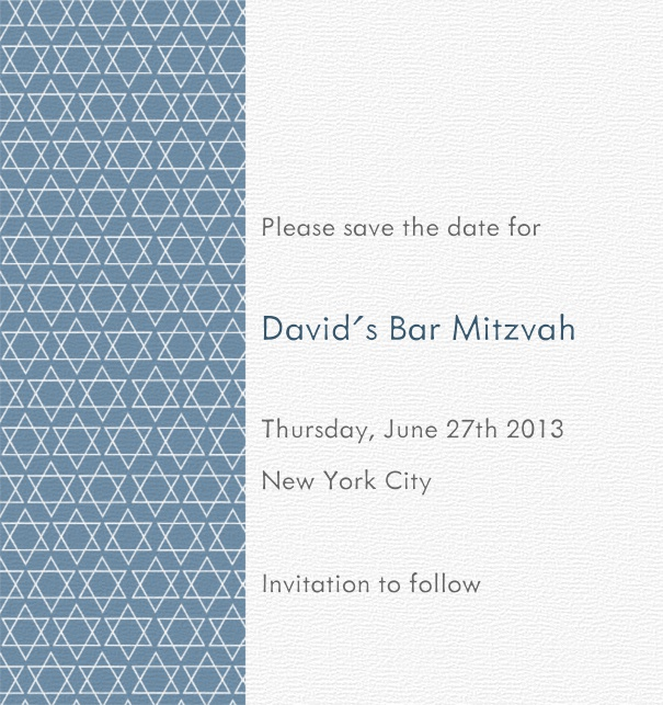 White and Blue Bar Mitzvah or Bat Mitzvah save the date card with Star of David Theme.