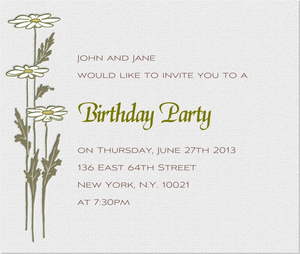 Online Square Beige Spring Dinner Invitation design with Lilies.