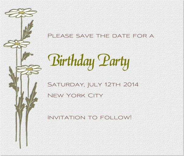 Grey Modern Engagement Save the Date Card with Daisies.