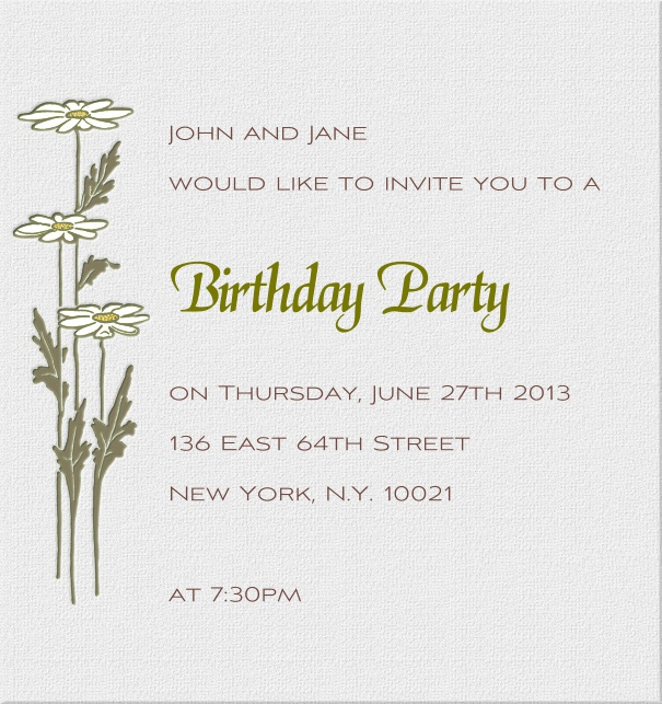 Online High Format Beige Dinner Invitation design with Lilies.
