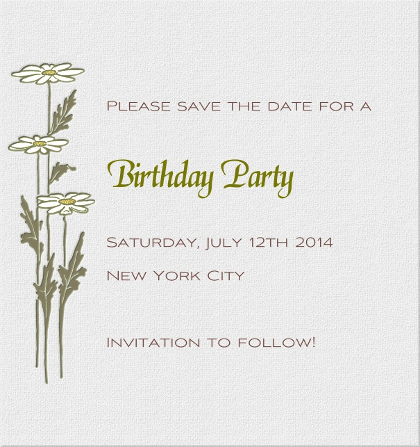 High Grey Modern Engagement Save the Date Card with Daisies.