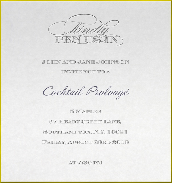 Corporate Cocktail Invitation with golden border.