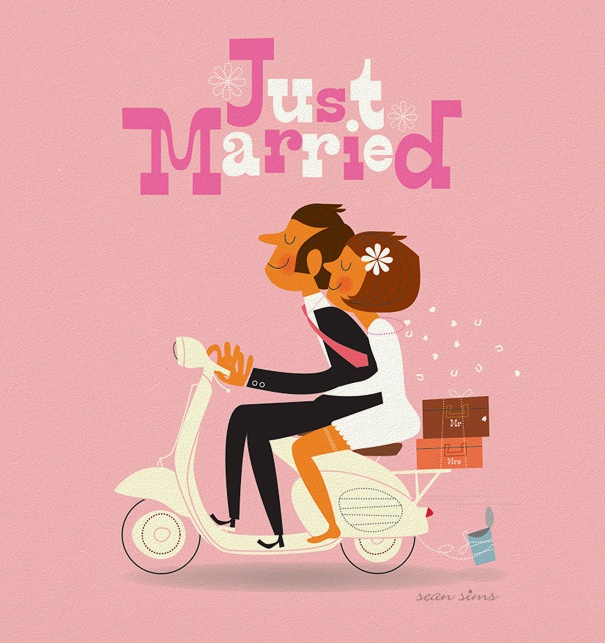 "Pink Marriage Invitation with the header ""just married"" and bride and groom on a moped."
