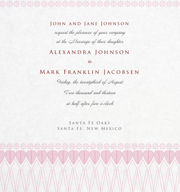 Pink Wedding Invitation with precious ornaments at the bottom.