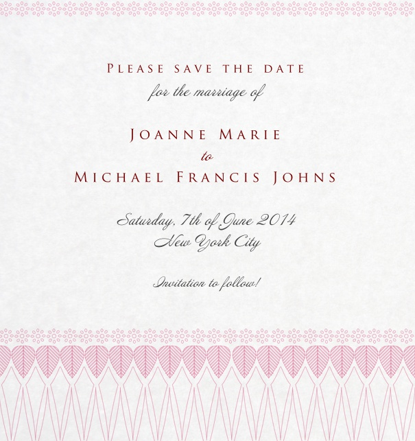 Classic Save the Date Card for weddings with hearts with pink border.
