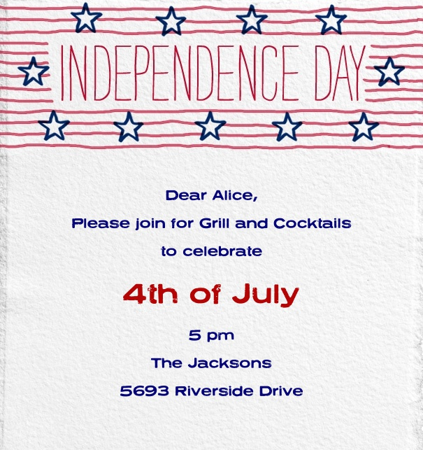 Fourth of July Invitation with Independence day Header with Red White and Blue Design.