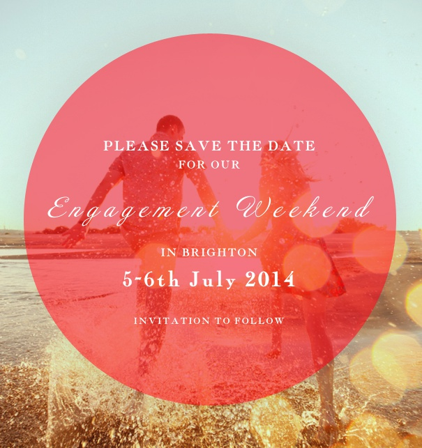 High Photo Save the Date Card with Red Circle Text Window.