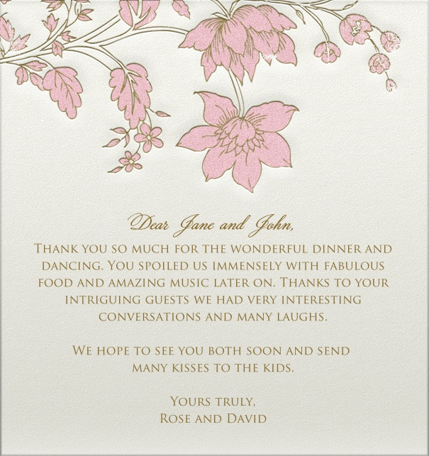 White Wedding Card online with pink flower header and engraved design.