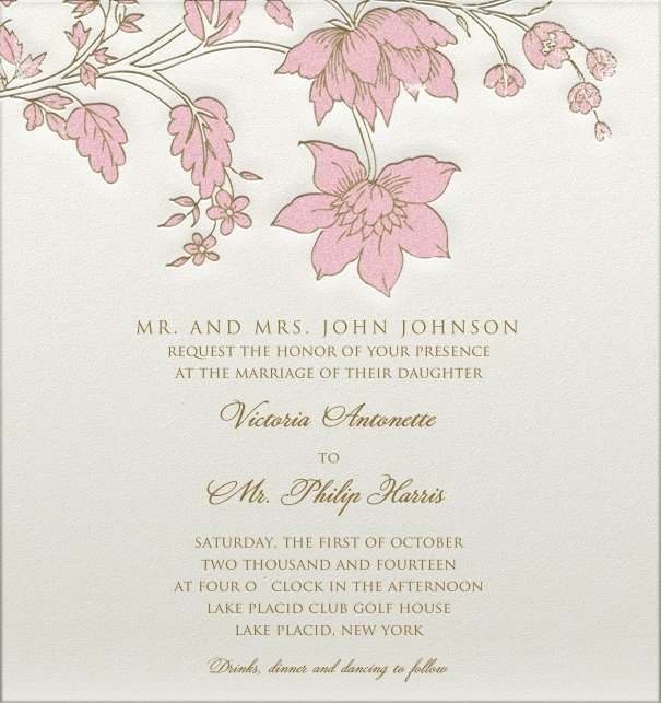 Formal, white Wedding Invitation with pink flower header and engraved design.