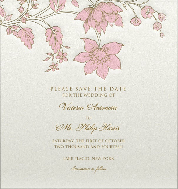 Wedding Save the Date online with pink flower header and engraved design.