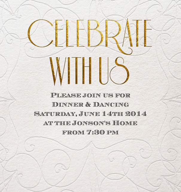 Online Invitation with gold text for celebrations.