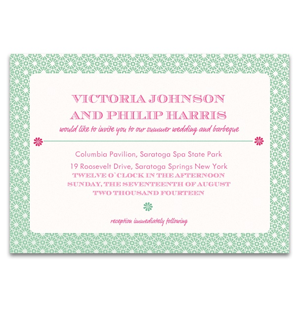 White, formal Wedding Invitation with red text and green frame with white polkadots.
