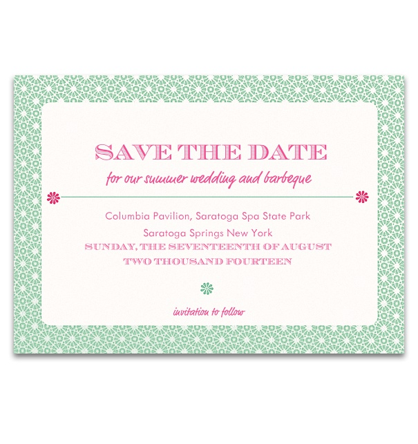Wedding Save the date card online with green frame with white polkadots.