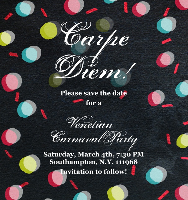 Black high format Celebration Invitation Save the Date with Confetti and Customizable Design.