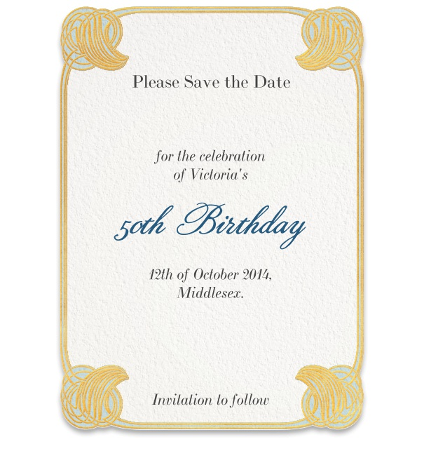 Formal Pepin Press Save the Date high with Art-Deco Corner Border.