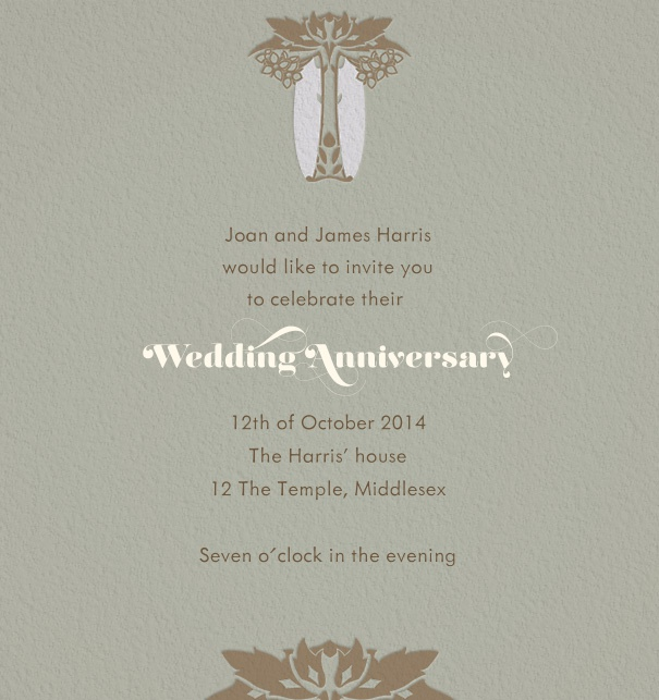 Grey Online Invitation with art-deco motif.